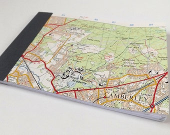 Guildford #9 - Camberley - Recycled Vintage Map Pocket Notebook