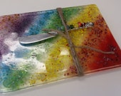 Fused glass colorful cheese server tray platter trivet hostess gift with rainbow cheese knife