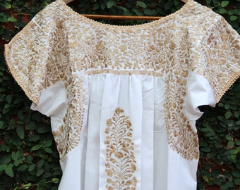 White with Antique gold colored embroidery Mexican Wedding Dress