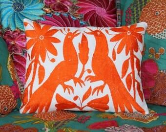 Orange Folk Art Pillow Sham-Otomi Embroidery Ready to ship.
