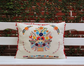 REd Basket Puebla Collection  Sham created from huipil kaftans