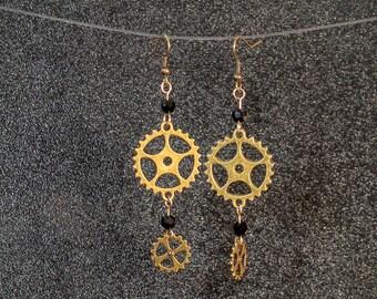 Steampunk Gear dangle earrings with black glass beads