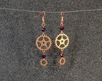 Steampunk Antiqued Brass Gear dangle earrings purple glass beads