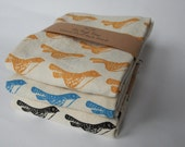 Kitchen Towel, Hand Printed, Bird, Natural Cotton, Choose Your Color