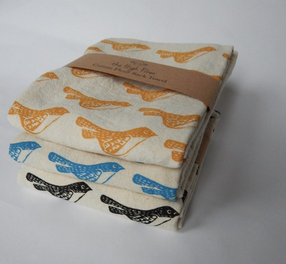 Kitchen Towel Hand Printed Bird Natural Cotton Choose Your