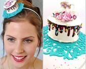 Let Them eat Cake Fascinator , Marie Antoinette Fascinator , Cake Headband ,Tea Party Headband,Tea Party Fascinator, Tea Party Headpiece