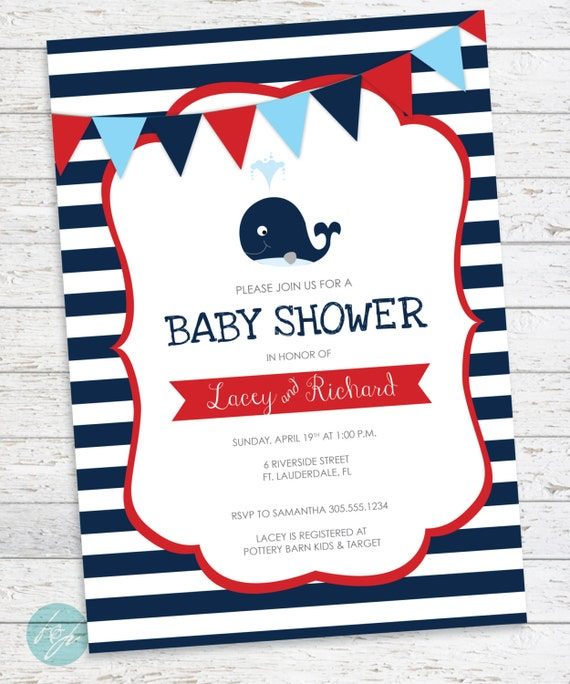 nautical baby shower invitations whale baby shower navy blue and red