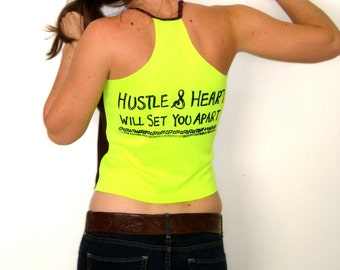 HUSTLE & HEART Brown Neon Tank, Bright Tank Top, Upcycled Tank, Festival Braided Surfer Tank Beach Eco Surf Hustle Will Set You Apart Print