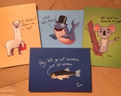 Animal Puns Greetings Card Set 4xA5 Cards