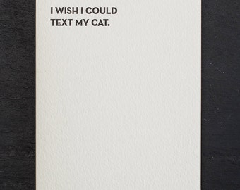 cat text. letterpress card. #911