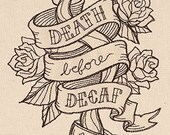DEATH BEFORE DECAF on Cream Cotton Kitchen Tea Towel