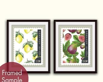 Lemons & Figs Vintage Stamps- Set of 2 - Art Prints (Vintage Modern Kitchen Art Prints)