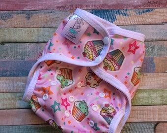 Cupcakes Polyester PUL Cloth Diaper Cover With Aplix Hook & Loop Or Snaps You Pick Size XS/Newborn, Small, Medium, Large, or One Size