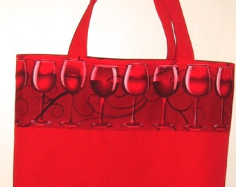 Red Tote Bag with Wine Glasses Market Bag