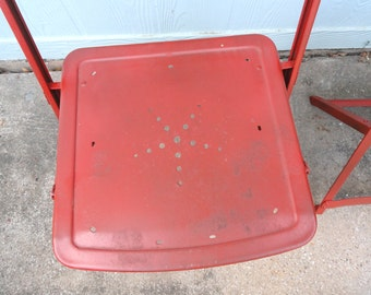 Vintage Folding Bistro Chair Red Metal RV Camp Chair Snow Flake Star Punched Design 2 available