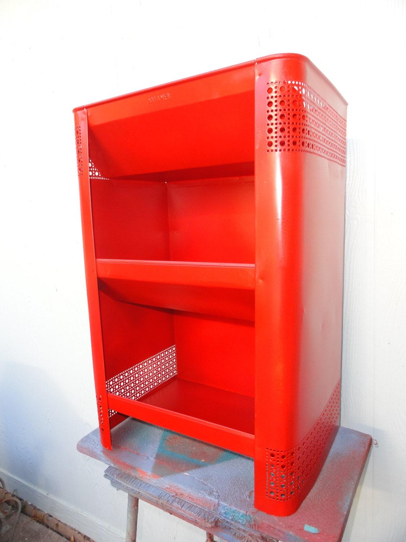 Vintage Vegetable Storage Bin Red Metal Shelf Hoosier