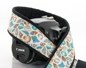 Seashell dSLR Camera Strap, Beach, Blue, Ocean, dSLR, SLR, Aqua, Nikon, Canon, 094