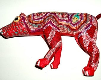 vintage MEXICO bear FOLK ART Oaxaca alebrijes sculpture signed Pepe Santiago red,mustard,blue,green,white,navy,black