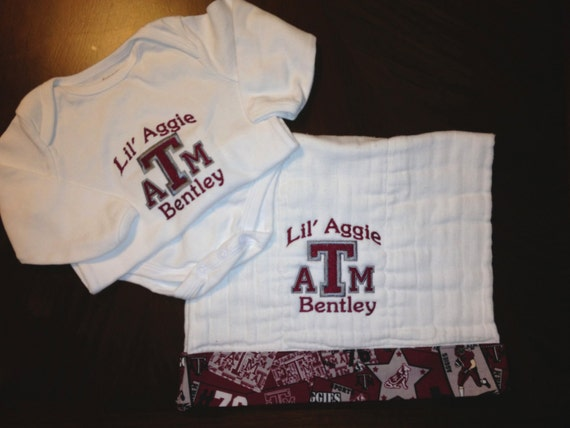 Texas A and M Aggie bodysuite and burp cloth