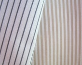 Vintage fabric, charcoal grey, gray, white stripes, tan and white, beige, stripes, ticking, retro fabric, scraps, fabric lot, black, white
