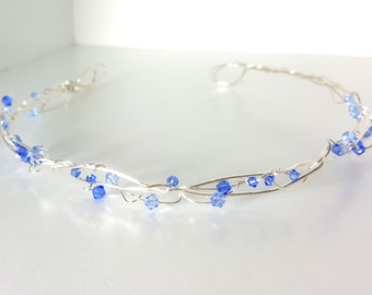 Blue Sparkling Woven Silver Crown - Organic Silver Tiara with Blue Sparkle for Wedding or costume