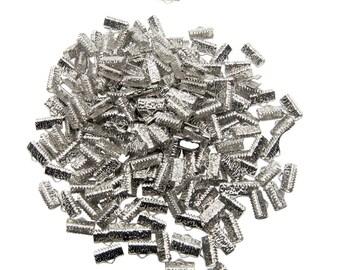500pcs.  13mm (1/2 inch)  Platinum Silver Ribbon Clamp End Crimps - Artisan Series