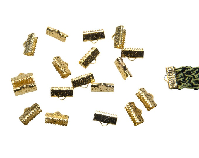 150pcs.  13mm  (1/2 inch)  Gold Ribbon Clamp End Crimps - Artisan Series