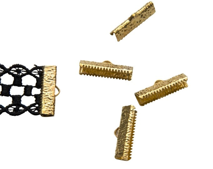 16 pcs.  22mm  (7/8 inch)  Gold Ribbon Clamp End Crimps - Artisan Series