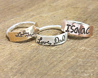 Handwritten jewelry, signature ring,  Actual Handwriting ring, memorial jewelry, remembrance jewelry, tagyoureitjewelry, custom writing
