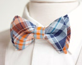 The Beau- men's organic madras navy and orange plaid double stacked pre-tied bow tie // groomsmen bow ties // custom neckties