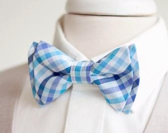 Bow Tie, Mens Bow Tie, Bowtie, Bowties, Bow Ties, Bowties, Groomsmen Bow Ties, Wedding Bow Ties - Navy, Aqua, Purple Organic Madras Plaid
