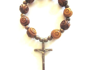 Vintage Tenner Rosary One Decade Carved Wood Beads