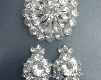 Vintage Rhinestone Brooch Clip On Earrings Crystal Wedding Jewelry Set