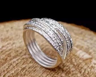 Sterling silver entangled ring