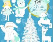 ON SALE! white christmas clip art, santa claus clip art, snowman clip art,white christmas tree clip art, scrapbooking, printable
