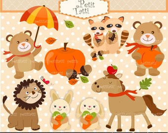 ON SALE Cute Autumn Forest Animals Clip Art,Woodland forest animals, cute tiger clip art, elephant clip art, cute animals clip art