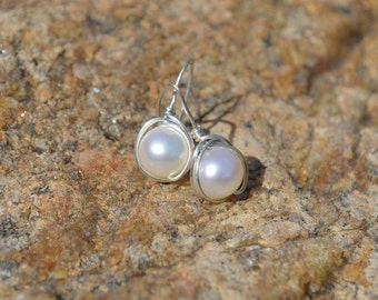Freshwater pearl and sterling silver wire wrapped  earrings, bridal jewellery, bridesmaids gifts, pearl drop earrings