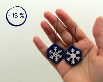 Blue hexagonal ornaments for Christmas tree in cornstarch clay with painted snowflake - 15% DISCOUNT