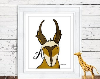 Antelope Pronghorn Illustration Children's Alphabet Printable - Letter A