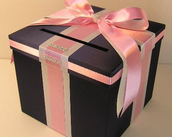 Wedding Card Box Navy and Light pink/White  Gift Card Box Money Box Holder--Customize your color (10x10x9)