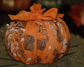 Decorative Pumpkin Centerpiece  , Fall Decor , Black and Orange Decorative Pumpkin, Orange Bandana Pumpkin
