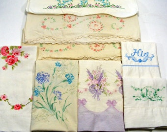 Vintage Pillow Cases Lot of 8 Pillow Covers Vintage Bed Linen