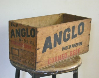 Small Vintage Wood Advertising Box, ANGLO Corned Beef Wooden Crate, Rustic Farmhouse Chic Storage Old Antique Primitive Shipping Packing Box
