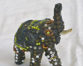Vintage Jeweled Elephant, Small Decorative Beaded Elephant Figurine Statue,