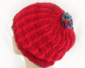 Woman's Red Knit Hat Women's Winter Accessory Girl's Ribbed Winter Hat Knit Bright Red Hat Striped Red Hat Woman's Knit Hat Girl's Knit Hat