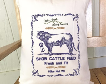Cattle Feedsack Pillow - Cowboy Western Decor - Cow Lover Gifts - Livestock Home Decor - Rodeo Decor - Western Pillow - Cattle Ranch Decor