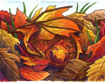 Art Print - Autumn Leaf Dragon