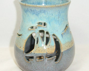 Sailboat Candle Sea Gull Luminary Ocean Blue Tall Ships Gray Mist
