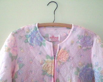 vintage flocked pastel pink roses quilted nylon housecoat