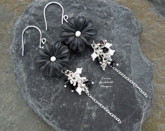 Black Daisy earrings, sterling silver daisy earrings, black and white earrings, black flower earrings, bouquet earrings, Mothers Day
